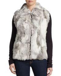 Saks Fifth Avenue Black Label Zip-Front Rabbit Fur Vest - Lyst