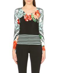 Etro Floral Striped Silk-blend Jumper - Lyst