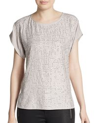 Rebecca Taylor Embellished Silk & Jersey Top gray - Lyst