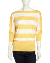 Lafayette 148 New York Striped Bateauneck Sweater Citrus - Lyst
