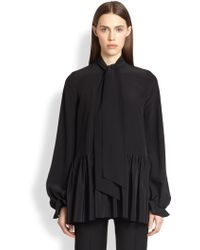 Givenchy Silk Tie-Neck Blouse - Lyst