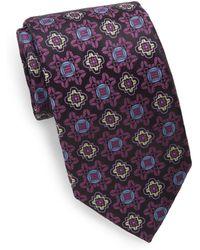 XMI Platinum - Floral Medallion Silk/linen Tie - Lyst