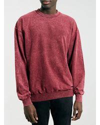 Topman Red Acid Wash Vintage Oversize Sweatshirt - Lyst