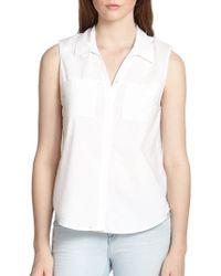 Joie Taverlia Button-Front Sleeveless Shirt - Lyst