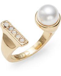 Cara - Faux Pearl Bar Ring - Lyst