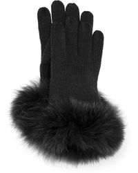 Sofia Cashmere - Cashmere Tech Gloves W/fox Fur Cuff - Lyst