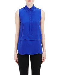 Barneys New York Crêpe De Chine Sleeveless Shirt blue - Lyst