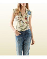 Gucci Flora Knight Print Silk Shirt - Lyst