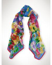 Ralph Lauren Silk Floral Scarf blue - Lyst