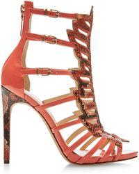 Alexandre Birman Python And Patent Leather Sandals - Lyst