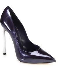 Casadei Blade Metal-Heeled Patent Leather Pumps - Lyst
