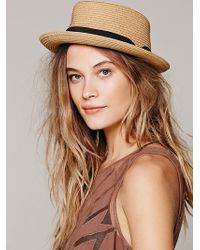 Free People Riviera Straw Porkpie - Lyst