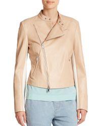 DKNY Leather Asymmetrical Jacket - Lyst