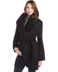 T Tahari Black Wool Blend Marla Wide Shawl Belted Coat - Lyst