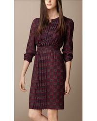 Burberry Pleat Detail Floral Print Dress - Lyst