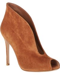 Gianvito Rossi Suede Splitfront Ankle Boots - Lyst