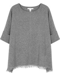 Duffy - Dark Grey Fringed Cashmere Jumper - Lyst