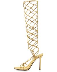 Sergio Rossi Metallic Knotted Knee Sandal Gold - Lyst