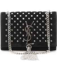 Saint Laurent Candy Monogram Studded Leather Shoulder Bag black - Lyst