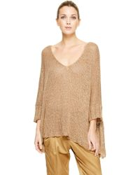 Donna Karan New York Three Quarter Sleeve V-Neck Easy Sweater - Lyst