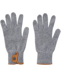 Oliver Spencer - Grey Melange Leather Trim Woolblend Gloves - Lyst