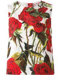 Dolce & Gabbana Embossed Roses Print Tank Top - Lyst
