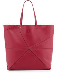 Loewe Lia Origami Leather Tote Bag Red - Lyst