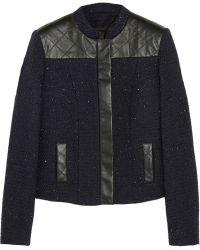 Karl Lagerfeld Nicole Leatherpaneled Cottonblend Bouclé Jacket - Lyst