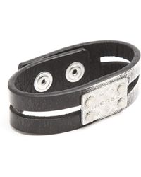 Diesel Afibo Black and Grey Leather Bracelet - Lyst