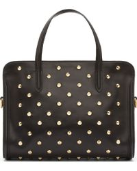 Alexander McQueen - Black Leather Gold Studded Skull Padlock Bag - Lyst