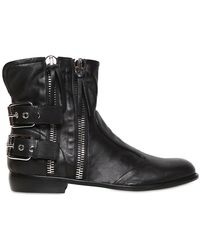 Giuseppe Zanotti - Soft Leather Double Zip Buckles - Lyst