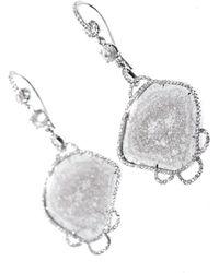 NSR Nina Runsdorf - Sliced Diamond and Whitegold Earrings - Lyst