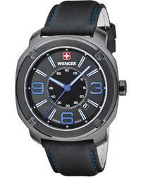 Wenger - Men's Swiss Escort Black Leather Strap Watch 46mm 01.1051.105 - Lyst