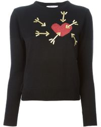 Carven Heart and Arrows Jacquard and Embroidered Motif Sweater - Lyst