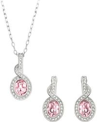 Swarovski Tyra Silver Tone Rose Crystal Necklace And Earrings Set - Lyst