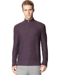 Calvin Klein Purple Quarter-zip Sweater - Lyst