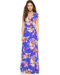 Yumi Kim Long Wrap Dress - Dodger Blue Blossom blue - Lyst