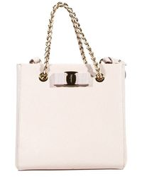 Ferragamo Handbag Bag Vany 2 Handles Chain Leather Tissu With Bow - Lyst