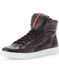 Prada Avenue Leather High-Top Sneaker - Lyst