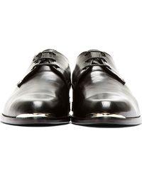 Diesel Black Gold - Black Leather Silver Plaque Derbys - Lyst
