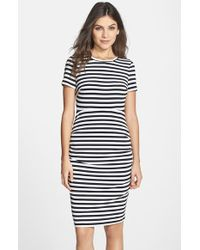 Vince Camuto Stripe Tucked Body-Con Dress - Lyst