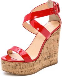 Giuseppe Zanotti Patent Leather Wedges - Red - Lyst
