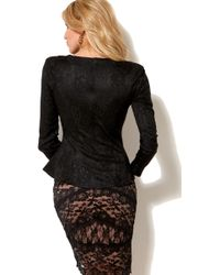 dcf3c70eb4 Akira Black Label - Long Sleeve Lace Peplum Top in Black - Lyst