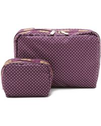 LeSportsac - Xl Rectangular & Square Cosmetic Case Combo - Burgundy Pin Dot - Lyst