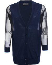 Paul Smith Black Label - Navy Sheer Sleeve Merino Wool Cardigan - Lyst