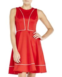 Vince Camuto Red Fit & Flare Scuba Dress - Lyst