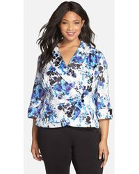Alex Evenings Print Side Closure Stretch Satin Blouse - Lyst