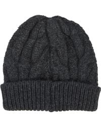 Barneys New York Gray Cable-knit Beanie - Lyst
