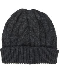 Barneys New York Black Cable-Knit Beanie - Lyst