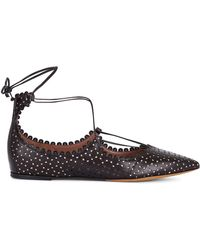 Tabitha Simmons | Black Leather Ghillie Willa Flats | Lyst